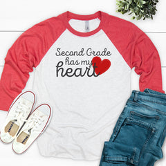 Second Grade Has My Heart Valentine's Day Raglan VAL-044