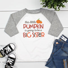 Little Pumpkin Big Sister Gray Raglan HAL-038