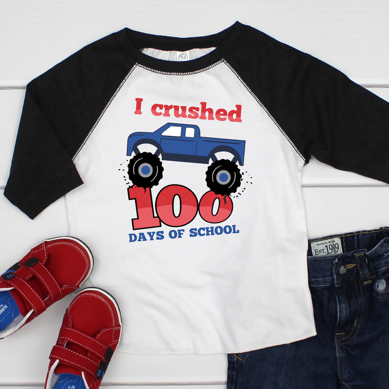 I Crushed 100 Days of School Raglan HUN-039