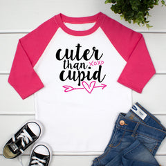 Cuter Than Cupid Girls Valentines Day Raglan Shirt VAL-022