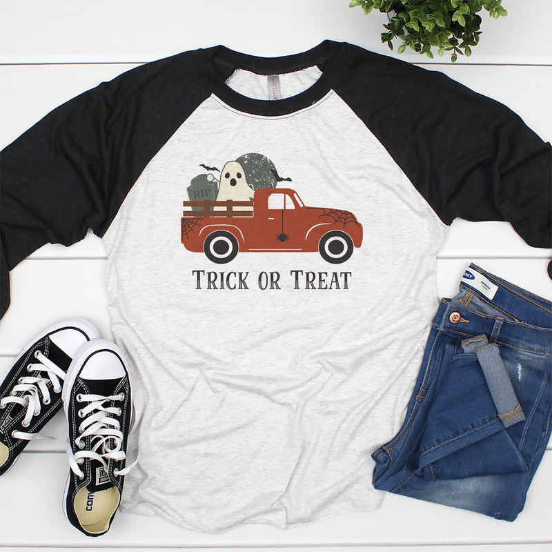 Trick or Treat Truck Black Raglan HAL-019