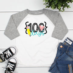 100 Days Pencil & Heart Raglan MHUN-004