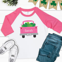 St. Patrick's Day Truck Girl Shirt PAT-024