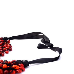 Red necklace natural seeds
