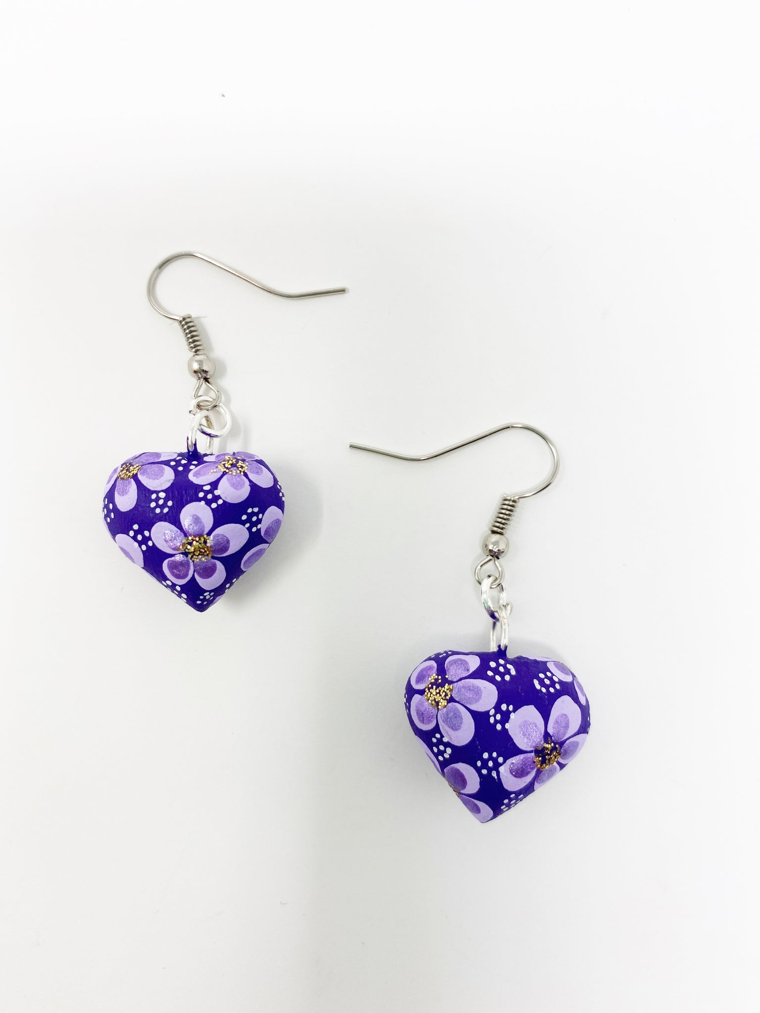 Hand Carved & painted Heart Earrings
