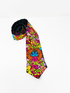 Tie colorful embroidery
