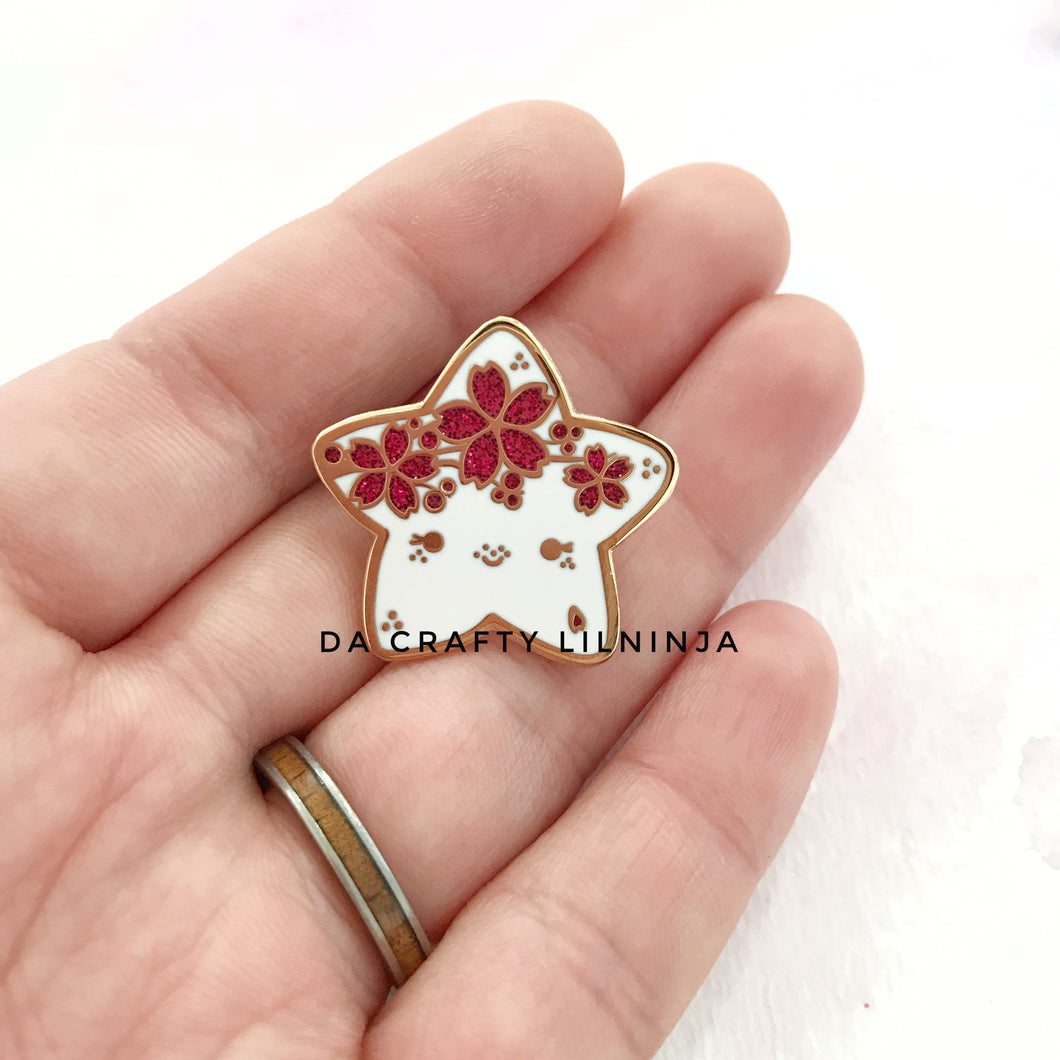 Sakura Branch Red Glitter Lilninja Star Pin, Hard Enamel Pin, Kawaii Enamel Pin