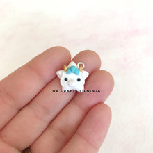 White and Turquoise Dragon Lilninja Star Polymer Clay Charm