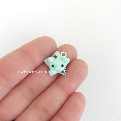 Mint Choco Kitty Lilninja Star Polymer Clay Charm