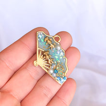 Koi Pond Fan UV Resin Pendant, Gold Plated Jewelry