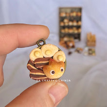 Fire Breakfast Bread, Polymer Clay, Antique Gold Plated Jewelry