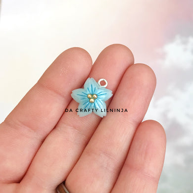 Blue Ice Quartz Sakura Lilninja Star Polymer Clay Charm