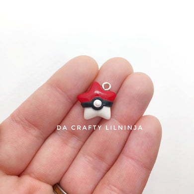 Red and White Ball Lilninja Star Polymer Clay Charm