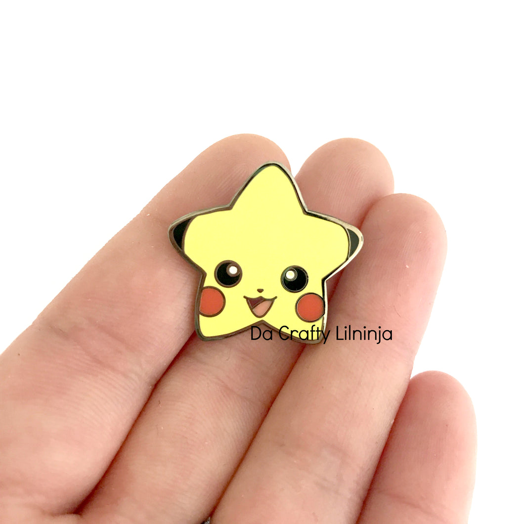 Yellow Kawaii Mouse Lilninja Star Enamel Pin