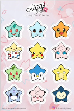 NEW! Kawaii Starmon Lilninja Star Sticker Collection