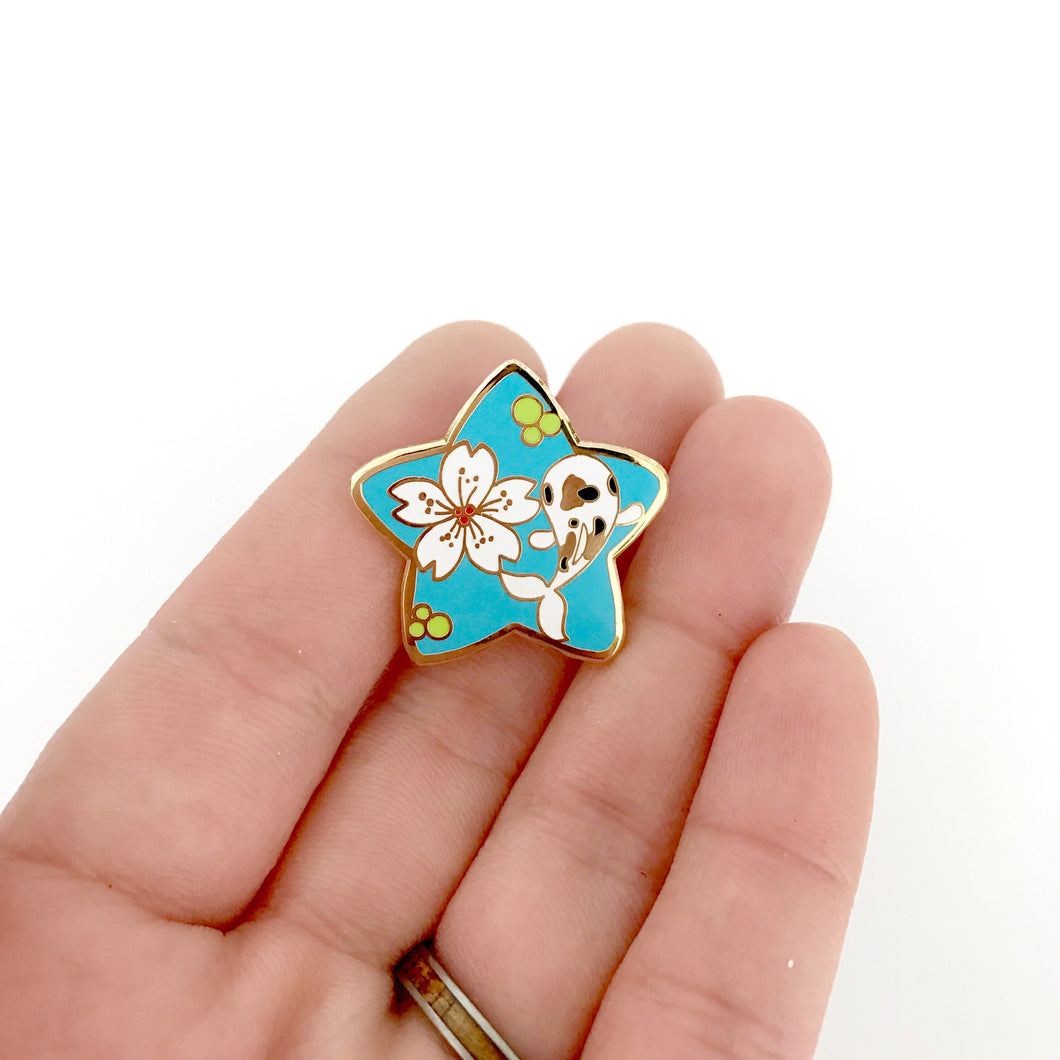 Sakura Koi Pond Lilninja Star Hard Enamel Pin, Kawaii Enamel Pin