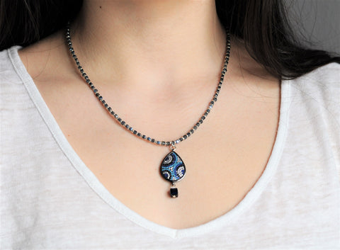 Luna Blue teardrop Necklace