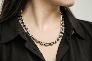 OCT5 Two strand twist silver hematite necklace