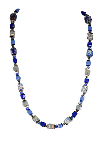 Sparkling blue foil glass necklace