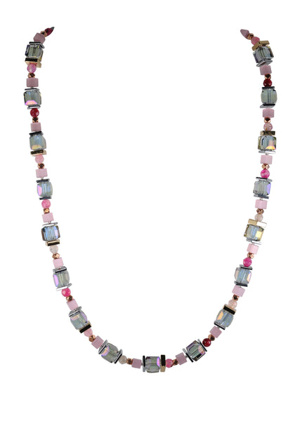 Sparkling pink crystal and agate necklace.