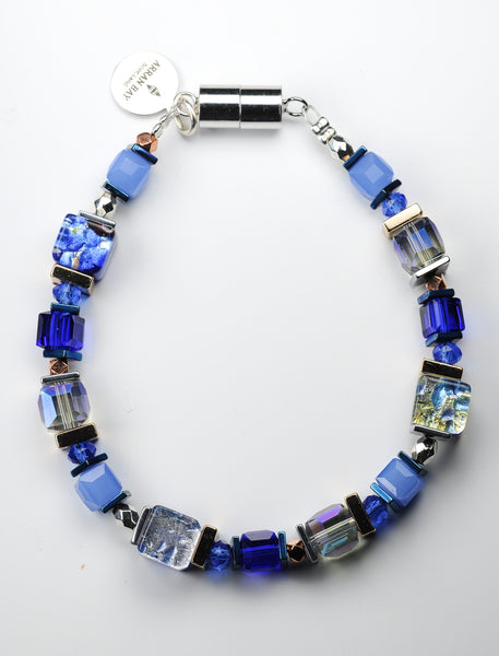 Blue foil glass & hematite bracelet