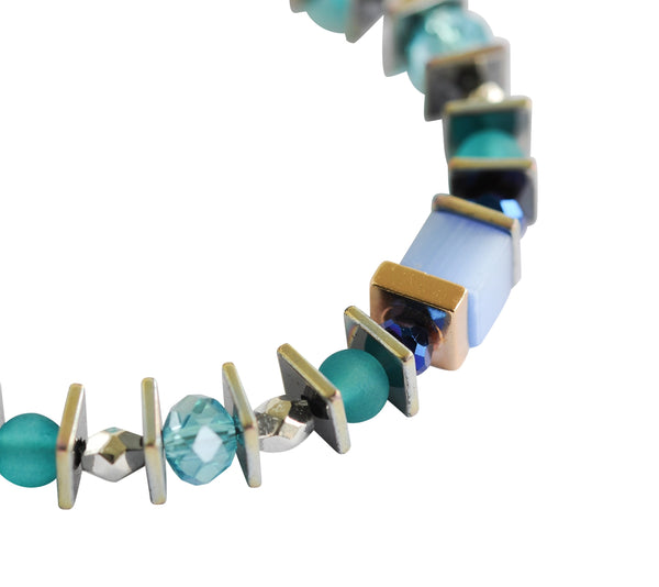 Multi-colour semi precious necklace - Blue