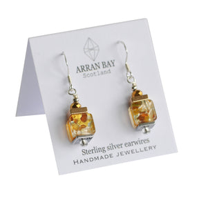 Multi-colour foil glass earrings - Lemon