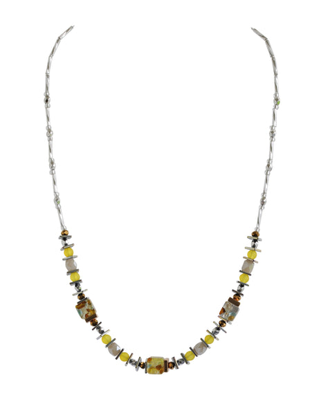 Multi-colour foil glass necklace - Lemon