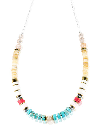 Turquoise jasper stone and agate necklace