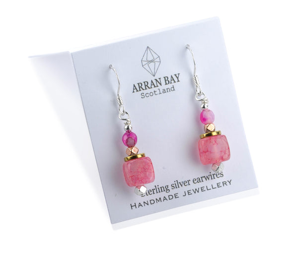Pink agate stone earrings.