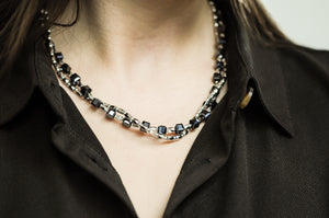 OCT4 Black two strand necklace