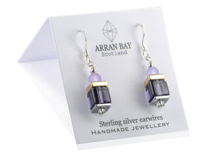 Violet glass earrings