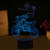 3D Optical Illusion Motocross No Hands LED Lamp - 7 Colors Changeable