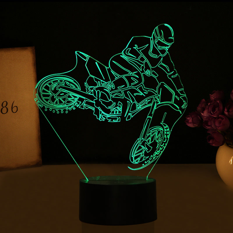 3d Optical Illusion Motocross Led Lamp 7 Colors Changeable The Dirt Rider