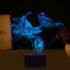 3D Optical Illusion Motocross Superman LED Lamp - 7 Colors Changeable