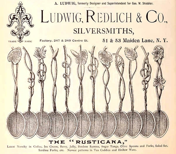 The 'Rusticana' pattern by Ludwig, Redlich & Co. - Ad from the Jewelers' Circular