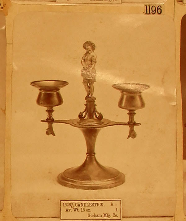 Original archival image of the Gorham Antique Sterling Silver Figural Candelabra, NY, NY, 1876