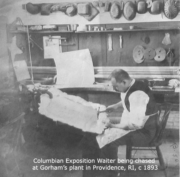 Gorham World's Columbian Exposition Waiter being chased at the shop
