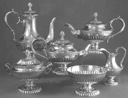 Fig. 1. The Binney-Newberry family six-piece tea and coffee service by  Rogers and Wendt, Boston, c. 1857