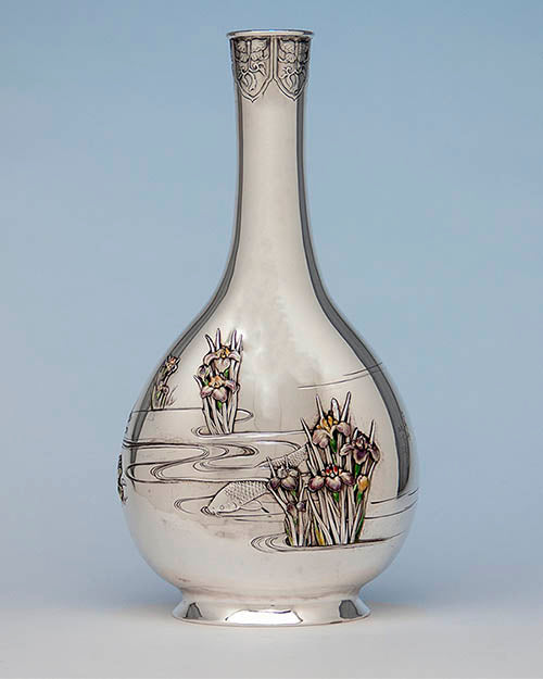 Japanese Work Sample vase number 8727 made by the Gorham Manufacturing Company, New York, and Providence, Rhode Island, and by unknown Japanese artists, 1897–1898