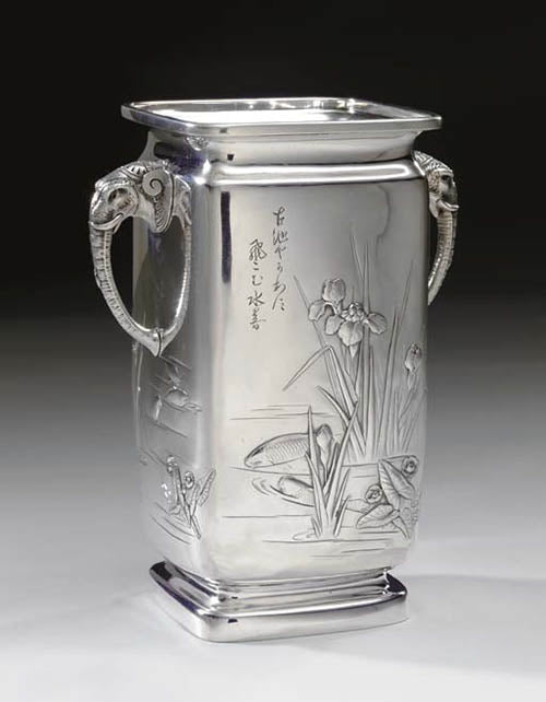 Japanese Work Sample vase number 8795, 1897–1898. Silver; height 9 inches. Photograph courtesy of Christie's