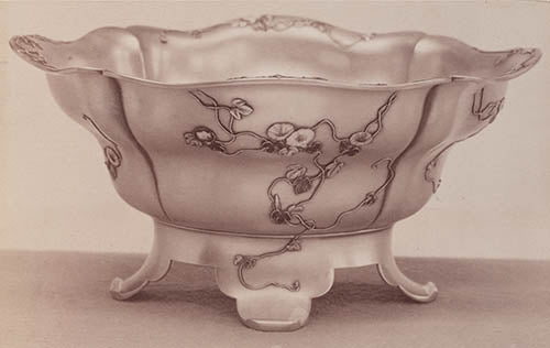 Japanese Work Sample salad bowl number 8747, 1897–1898. Silver and enamel. Gorham Manufacturing Company Archive.