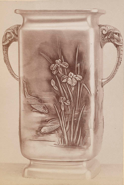 Archival image of the Japanese Work Sample vase number 8795, 1897–1898, in Fig. 4 showing the original oxidation. Gorham Manufacturing Company Archive, John Hay Library, Brown University, Providence, Rhode Island.