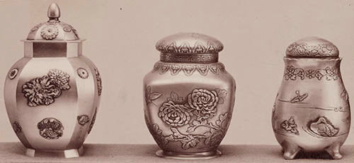 Archival image of three Japanese Work tea caddies, 1897–1898, detailing the individual design and decoration of each Japanese Work piece. Gorham Manufacturing Company Archive, John Hay Library, Brown University, Providence, Rhode Island.