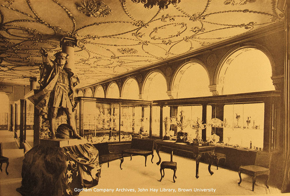 Gorham's Display at the 1893 World's Columbian Exposition was dominated by their cast silver statue of Columbus.