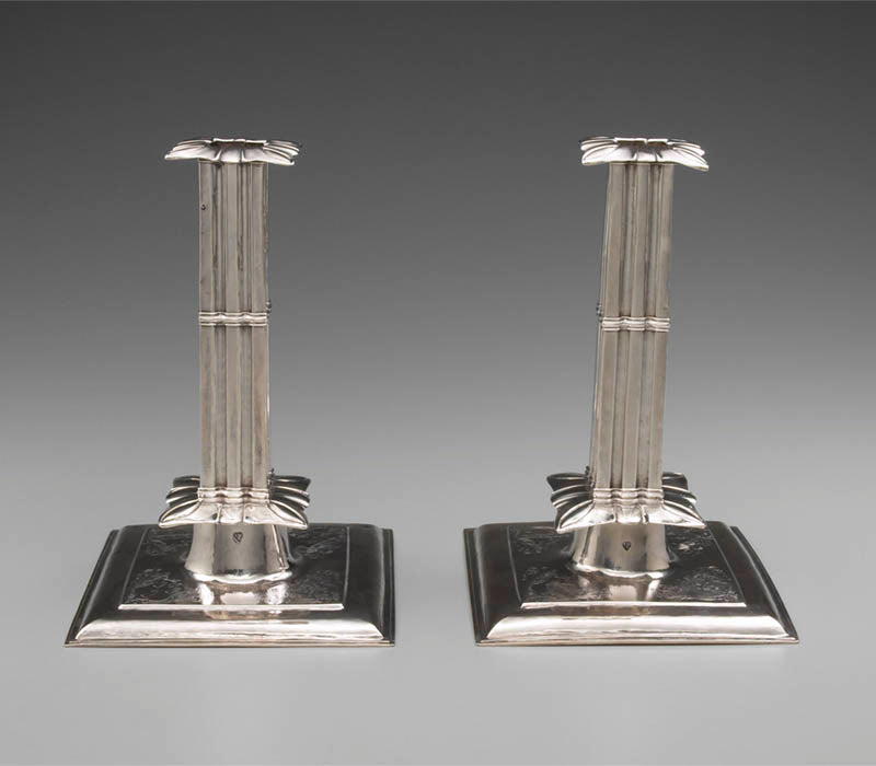 Jeremiah Dummer candlesticks, Boston c. 1686, courtesy Yale University Art Gallery