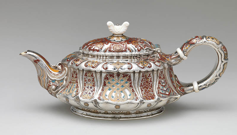 Tiffany & Co. enamel decorated tea pot, c. 1887, courtesy Metmuesum.org