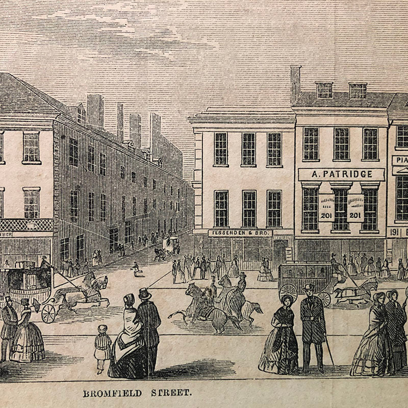 Fessenden & Brother shop, 205 Washington Street, Boston, in 1853 from Gleason's Pictorial May 14, 1853.