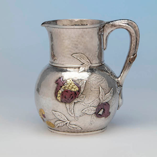 Tiffany Antique Sterling Silver and Mixed Metals Pomegranate Water Pitcher, c. 1879