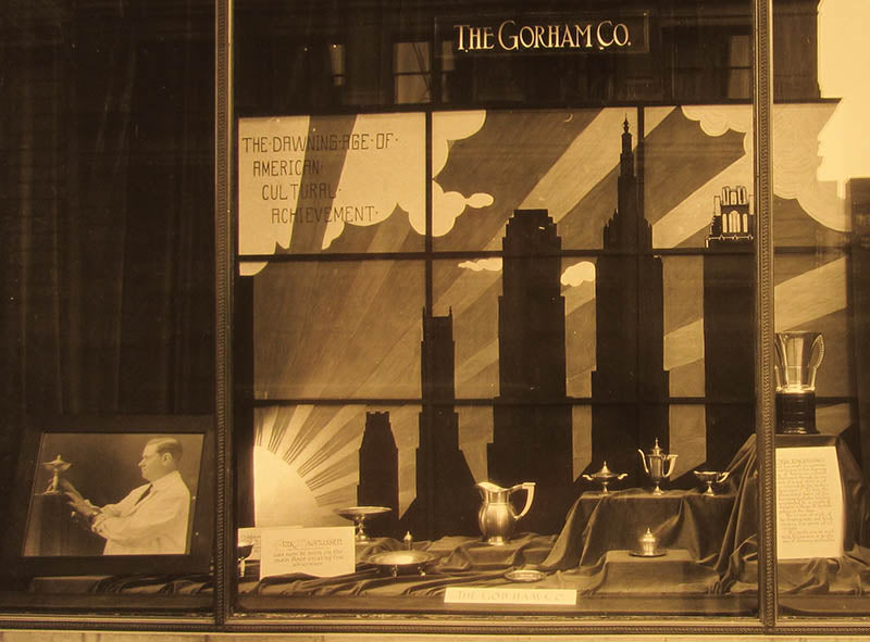 Gorham display window featuring early Erik Magnussen designed silver